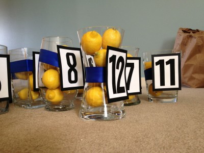 [WEDDING] BLUE AND YELLOW WEDDING TABLE NUMBERS